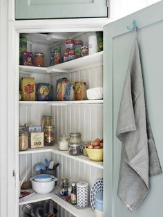 I like this pantry with the sage green door