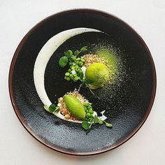 Chilled giant pea soup with coconut & wasabi. Dish uploaded by @thomekas #gastroart