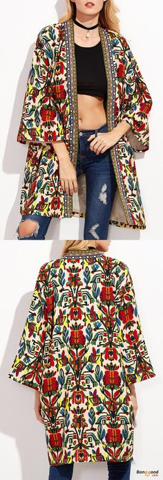 US$29.99 + Free shipping. O-NEWE Women Tribal Printed Embroidered 3/4 Sleeve Long Cardigan Jacket. Women's coats jackets, fall winter fashion, winter outfits, casual style. Size: L-5XL. #womensfashion #womenstyle #fallwinteroutfits