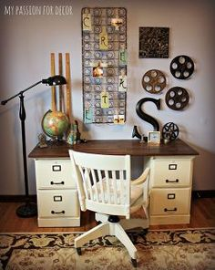 pottery barn inspired desk using goodwill filing cabinets, chalk paint, home decor, kitchen cabinets, painted furniture, repurposing upcycling, Desk in it s new home in my office I decided to hang my side of the road find mattress spring above it to use as a bulletin board