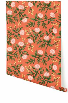Rifle Paper Co. collaborates with Hygge & West on some beautiful wallpaper. This is the 'Persimmon Peonies' pattern.