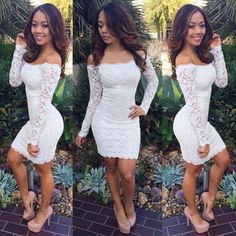 Off-shoulder Package Hip Bodycon Long Sleeves Short Lace Pencil Dress