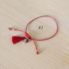 greek martakia march bracelet red and white bracelet image 2 Handmade Bracelets, Beaded Bracelets, Crystal Beads, Crystals, Jewellery Diy, Evil Eye Jewelry, Blue Beads, Friendship Bracelets, Red And White
