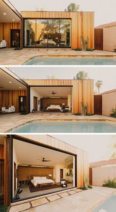 A 16 foot wide by 10 foot tall pocketing glass door, opens the master suite to the pool courtyard. With the open floor plan of the master suite inspired by the home owners trips to exotic hotels around the world.
