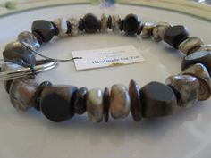 Handmade For You Hands-Free Beaded Bracelet Key Chain Keyring Men's Antler Horn Beaded Shell Brown Black Stretch Cord Fits Many Sizes K205 by JewelsHandmadeForYou on Etsy