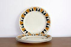 Set de 4 assiette vintage badonviller - 1900 - collection egypte - motif géométrique