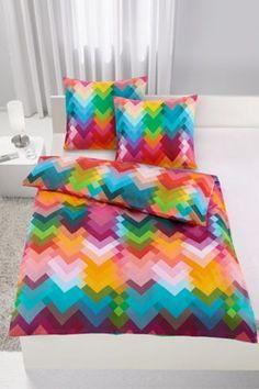 Bettwäsche aus 100% Baumwolle-Satin, bunt. B/L: ca. 135/200cm und 2x 80/80cm.