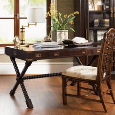 Tommy Bahama by Lexington Home Brands Royal Kahala Poets Crossing Writing Desk - Desks at Hayneedle West Indies Decor, West Indies Style, British West Indies, British Colonial Decor, Colonial Style Homes, Tommy Bahama, Desk And Chair Set, Table Desk, Dining Chair