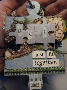 I love the idea that it's made from puzzle pieces. Created by Lady Sabine at Splitcoast Stampers---uploaded 2010 Puzzle Piece Crafts, Puzzle Art, Puzzle Pieces, Diy Arts And Crafts, Crafts For Kids, Paper Crafts, First Christmas, Christmas Crafts, Christmas Ornaments