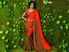 Look this awesome #saree at an any occasion by wearing the Orange Georgette & Jacquard Saree. Make a statement by donning this stylish saree. Rich in material and of pure ethnic essence, this saree will be a collector's item in your fabulous collection. Get it now! #Catalogue #SURMAI Price - Rs. 1392.00  #Sarees #ReadyToWear #OccasionWear #Ethnicwear #FestivalSarees #Fashion #Fashionista #Couture #LaxmipatiSaree #Autumn #Winter #Wo