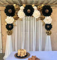 Elegant paper flower backdrop in colors black, white and gold created for a special party thank you Emily for trusting us✨💖 50th Wedding Anniversary, Anniversary Parties, Paper Flower Backdrop, Paper Flowers, Diy Flowers, White Flowers, Table Flowers, Colorful Flowers, Birthday Party Decorations