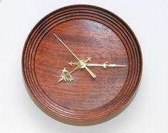 woodwork clock | Wall Clock of Turned Padauk Wood with a by WoodArtForLiving, $100.00