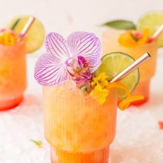 Pineapple mango rum punch cocktail garnished with large pink flower, lime slice and orange zest Beach Drink Recipes, Rum Punch Recipes, Alcohol Drink Recipes, Rum Punch Drink, Rum Punch Cocktail, Sunrise Cocktail, Mixed Drinks, Fun Drinks, Yummy Drinks
