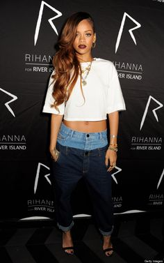Rihanna can pretty much get away with wearing anything … except maybe this. Rihanna Wears 'Double Top' Jeans From Her Own Line … Are They Ugly? Estilo Rihanna, Rihanna 2015, Moda Rihanna, Rihanna Mode, Rihanna Style, Rihanna Fenty, Rihanna Fashion, Double Denim, Rihanna Outfits