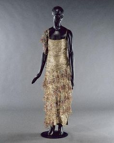 1923 Paul Poiret gold lame and silk dress.