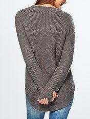 Pullover maglia grossa collo a V