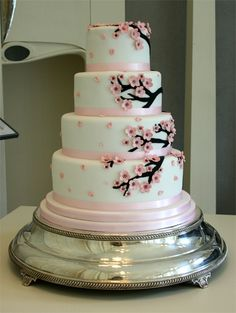 Cherry Blossom Wedding Cake by Sucre Coeur - Eats & Ink, via Flickr--  I would do yellow and green ribbons instead of pink