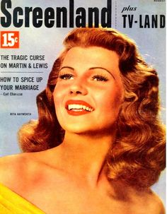 Rita Hayworth on the cover of Screenland magazine, August 1952.