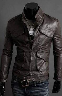 Charming & Trendy Multi-pocket Stand Collar Slim Long Sleeve Leather Jacket---- Khaki