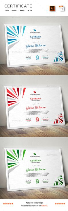 Buy Certificate by CreativeRacer on GraphicRiver. A Great Certificate Template for Creative Person. Features: Easy to Edit CMYK Color 300 DPI High Resolution Size . Certificate Of Achievement Template, Certificate Format, Certificate Design, Certificate Templates, Best Templates, Letter Templates, Print Templates, Card Templates, Certificate Of Appreciation