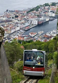 An eight-minute funicular ride takes visitors to the top of Mount Floyen for a breathtaking view of Bergen and its historic harbor. Photo: K...