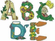 Gardening Alphabet Machine Embroidery Designs  http://www.designsbysick.com/details/gardeningalphabet