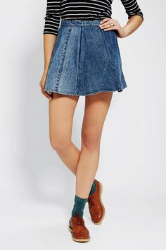 Motel Vintage X Urban Renewal Denim Circle Skirt #urbanoutfitters