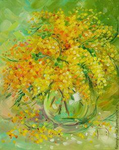 Купить Картина маслом на холсте. Солнечная мимоза. - мимоза, букет цветов, цветы, желтый, оранжевый
