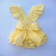 Sophia Ruffle Romper in Soft Yellow