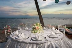 All white with orchids and accents of coral and blue. Koh Samui, All White, Beautiful Islands, Unique Weddings, Orchids, Florals, Table Settings, Rustic, Traditional