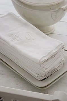 monogrammed linens—i found monogram linens in southern France for an unbelievable price. Love bumping into a bargain on a trip...