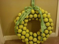 tennis ball wreath.  Pictures show some I have sold so ribbon may vary based on what was asked for