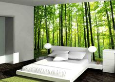 Sunny Forest wall mural, Pre pasted Washable and dry strippable wall paper, wall covering  • Doesn't damage wall surface • Easy to install easy to remove • Pre pasted • Customized to fit any wall dimension.