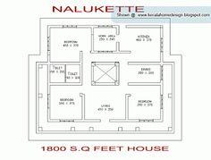 Nalukettu house plan as per vaastu guidelines.