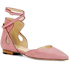 Sarah Flint Pink Vacchetta Hannah Flat ($303) ❤ liked on Polyvore featuring shoes, flats, pink, pointed toe flats, ankle strap shoes, pointed-toe ankle-strap flats, ankle strap flats and ankle strap flat shoes