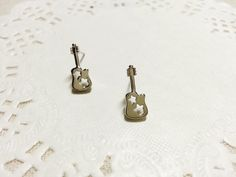 Cute Guitar Earringsimple delicate everyday by HappyGreenDay, $12.00