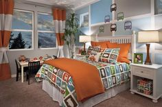 All forms of transit are featured in this charming children's room. Residence Three by Pulte Homes. Issaquah, WA.