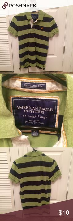 American Eagle Rugby Vintage Fit The Eagle Rugby polo. Vintage fit. Green and navy blue. Feel free to check out the rest of my closet and my bundle deal. Thanks 😊 American Eagle Outfitters Shirts Polos