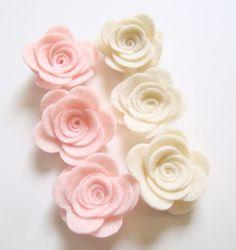 Handmade Felt Rose 4 Pastel Light Pink & Ivory by sweetiefluhr, $3.99