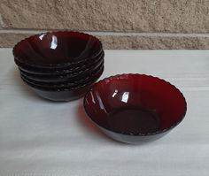 Royal Ruby Dessert Bowls by Anchor Hocking - Set of 6 Fruit  Dessert Bowls - Small Vintage Red Glass Bowls - Thumbprint and Starburst Design by ClassyVintageGlass on Etsy Fruit Dessert, Dessert Bowls, Glass Bowls, Vintage Dinnerware, Glass Company, Deep Red Color, Anchor Hocking, Red Glass, Bud Vases