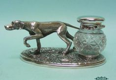 Novelty English Silver Plated and Cut Glass Hound Dog Inkwell Ink Stand | eBay