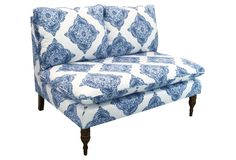 One Kings Lane - Upholstered Updates - Bacall Armless Settee, Indigo-- at the foot of the bed?