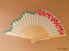 Unusual Floral Scallop Pink Red Flowers Hand Fan SIZE OPTIONS by Kate Dengra Spain