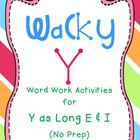 Word work activities and centers for y as long e & i!