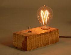 Trabalho FQ Wood Desk Lamp, Wood Lamps, Edison Lamp, Edison Lighting, Driftwood Lamp, Steampunk Lamp, Wood Clocks, Desk Light, Pipe Lamp