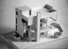 https://flic.kr/p/74SDZt | Smith House Model | An Illustration board demountable model of Richard Meier's Smith House which I made in my first year architecture studio in 1988.