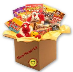 Put a smile on their face with our Keep Hangin In There get well care package. Sure to bring a smile to their face the boxes exterior message send your heartfelt get well wishes loud and clear. The si