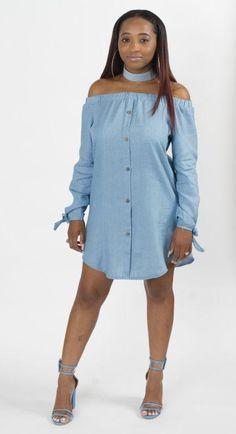 21df5434f5f8c1 Off Shoulder Button Down Denim Shirt Dress