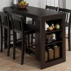 Counter Height Table with Storage in Maryland Merlot