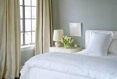 Aerin Lauder Bedroom -- Simple (This is ideal for the exception of the poorly scaled lamp and dinky artwork)